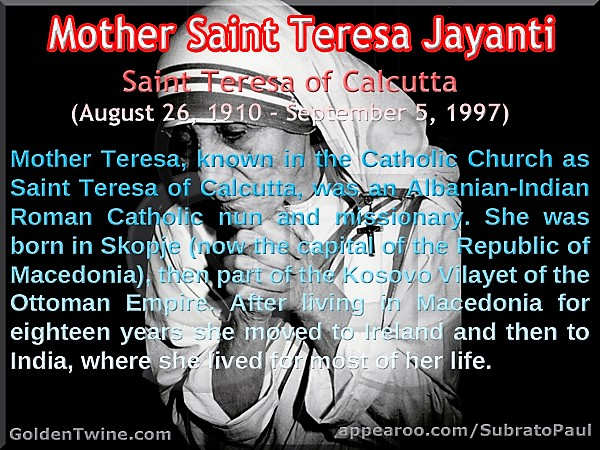 117th Birth Anniversary of Mother Saint Teresa