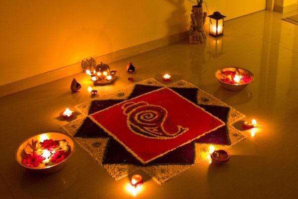 Rangolis and light up Diyas