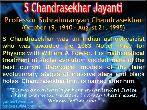 S Chandrasekhar Jayanti