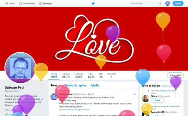 Twitter Profile Page with Animated Balloons