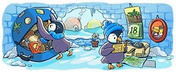Second Panel: Penguin pals planning a vacation