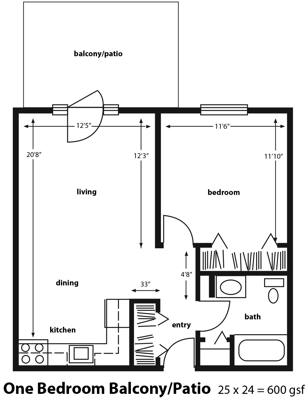 One Bedroom Apartment with Patio or Balcony