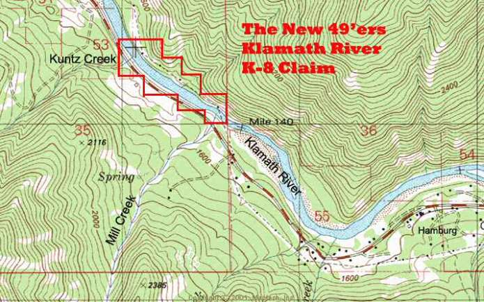 K-8 - Mill Creek Claims - Topographical Map