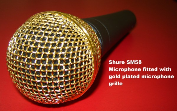 Shure SM58 Microphone with Gold Plated Grille  RW Harmonicas