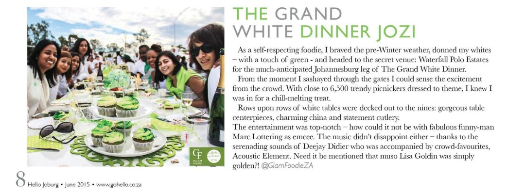 The Grand White Dinner Review - Hello Joburg Mag & Glam Foodie