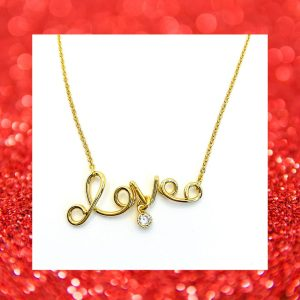 Gold Love Necklace, Gold Love Necklace Product Image
