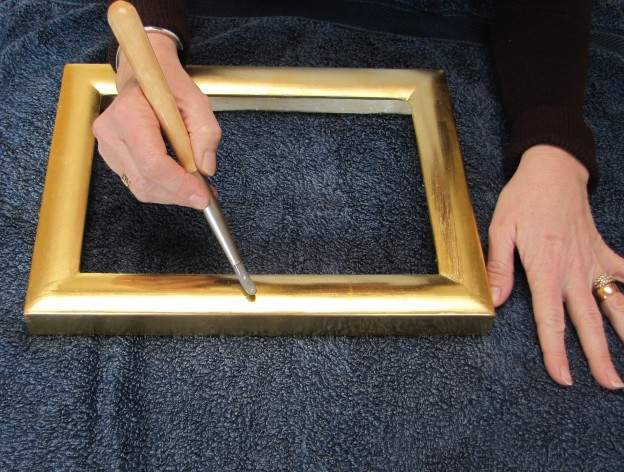 Sue Govani takes a Gilding course with Richard Walker at Watergild Studios, Havant.