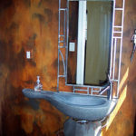 Modern Masters Iron Paint and Rust Patina Finish in a Bathroom.