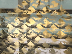 A close of up of the gilding, made from gold leaf in designs like tiles.
