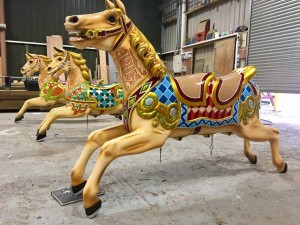 Fairground Galloping Horses painted in the traditional style by Malcolm Murphy.