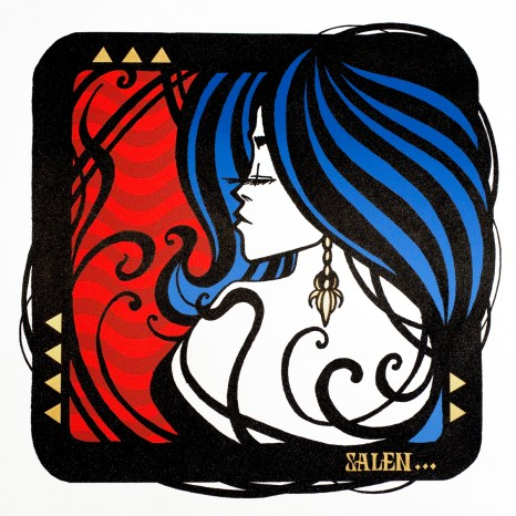 Inkie - 'Salen' - 3 colour Silkscreen with Gold Leaf and Glass Glitter, 2014