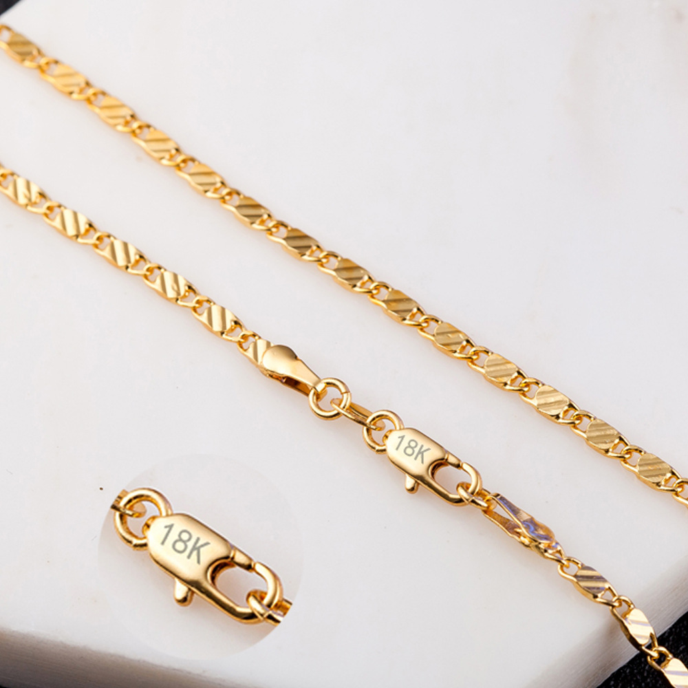 """1PC 18K Yellow Gold Filled Flat Chain Necklace 16-30/"""" Jewelry For Pendant"""