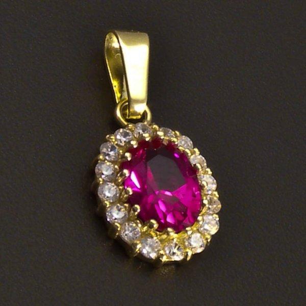 Goldene Oval Anhnger mit Rubin  goldpointshopde