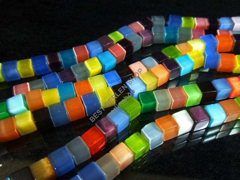 60 OCCHIO DI GATTO PERLE CUBO 6mm Multicolore Vetro Catena realizzer Cats Eye d88a  eBay