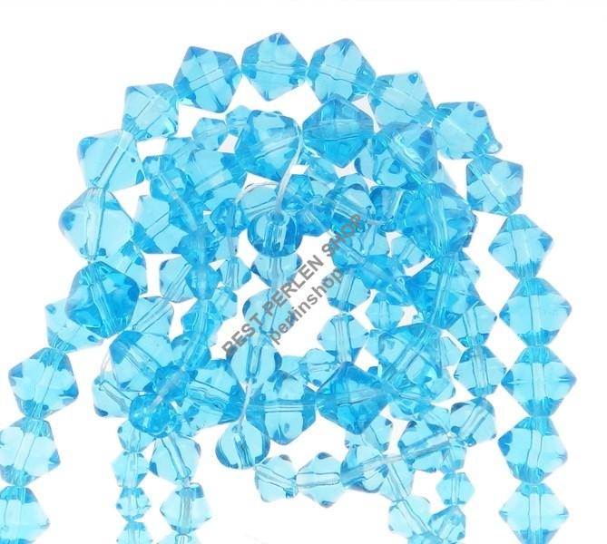 150 GLASPERLEN DOPPELKEGEL PERLEN RHOMBEN BLAU GLAS 4 6 8