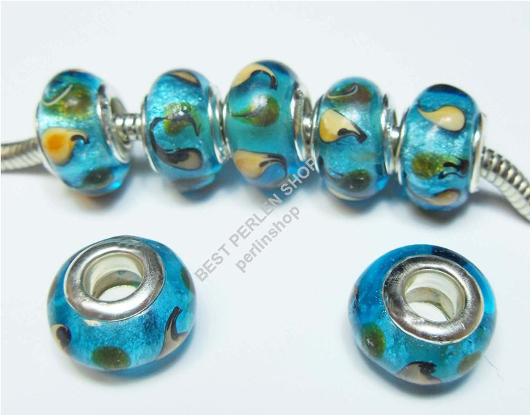 8 Lampwork Fancy Blau EUROPEAN GLASPERLEN Groloch