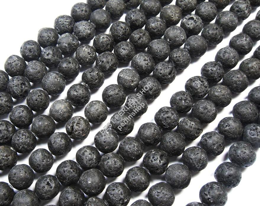 Lava Perle EDELSTEIN Pietra Naturale Gemstone Beads nero
