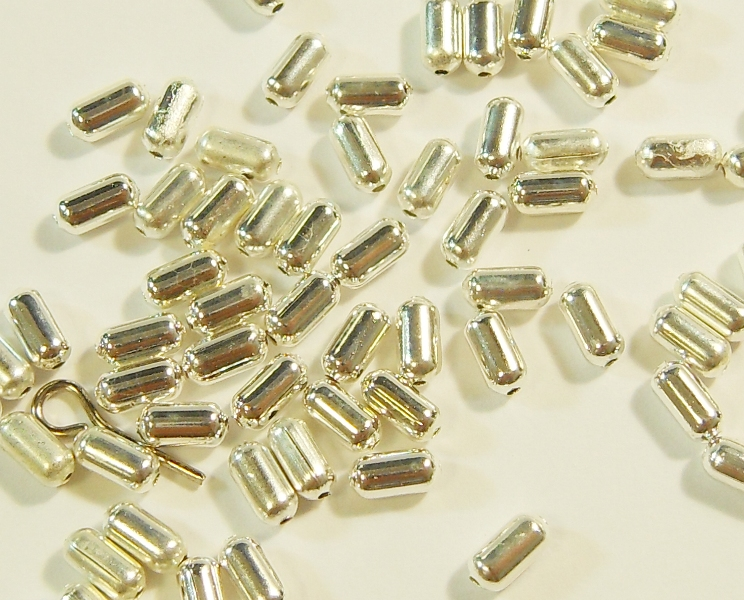250 perle in metallo metallo tra parti Tubo Argento 4mm