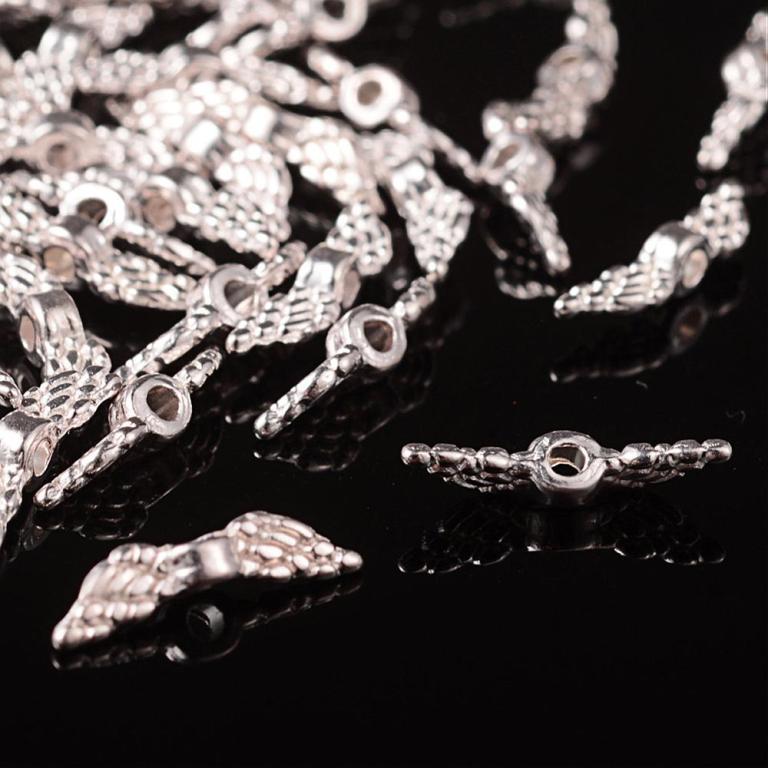 Ala metallo PERLE ANGELO ala Perle 12mm Tibet argento realizzer 10stk m440  eBay