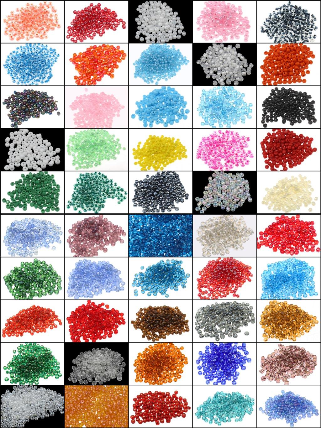1 kilo Rocailles Perlen Set 3mm 50 Farben Glas Bastelset