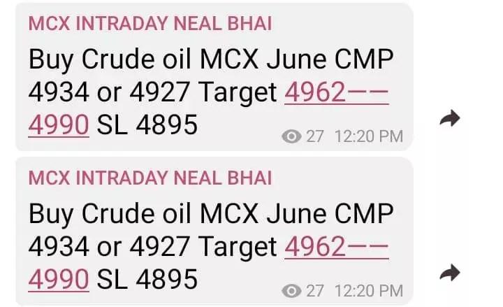 MCX Tips Crude Oil