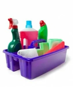 Put together a cleaning caddy to keep your cleaning supplies close by (istockphoto)