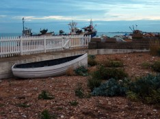 Boats in gardens, Dungeness, Kent