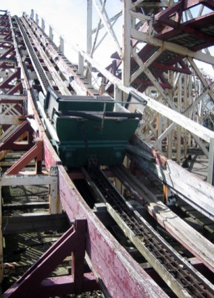 Last carriage, dilapidated roller coaster, Folkstone, Kent