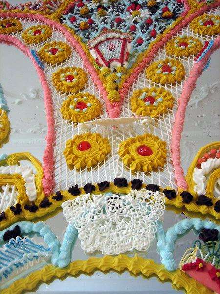 Sugar decorations on a mirror