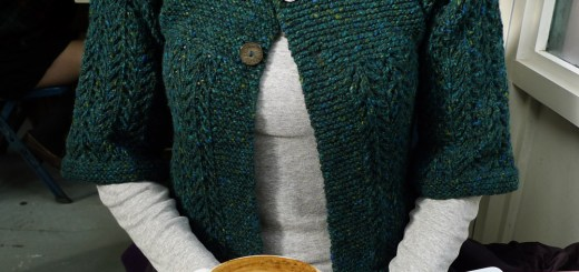 Knitted cardi - top down lace pattern
