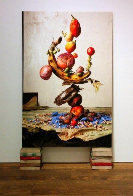 Greeen Stripes #; Balancing fruit and veg balanced on blocks