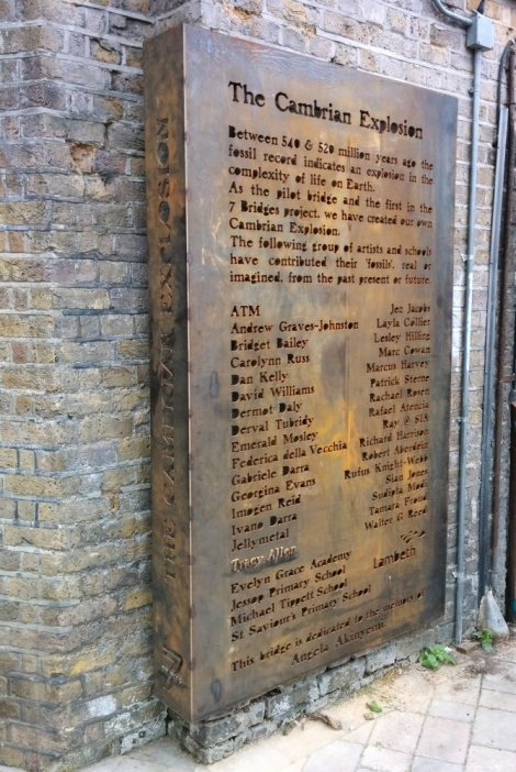 Sign showing info about Cambrian Bridge Fossil Explosion project