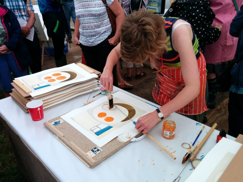 Helen Murgatroyd demonstrating at Art in Action 2014