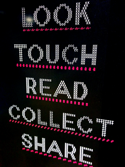 Look, touch, read, collect, share