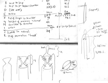 Measurements and armature sketches