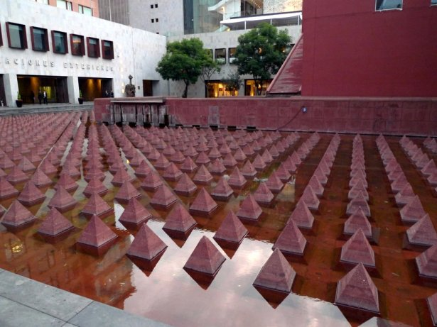 Vicente Rojo's pyramids in Plaza Juárez, Mexico City