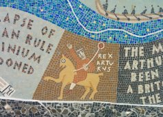Detail of Queenhithe mosaic: King Arthur