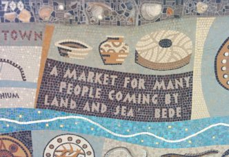 Detail of Queenhithe mosaic: Quote by the venerable Bede