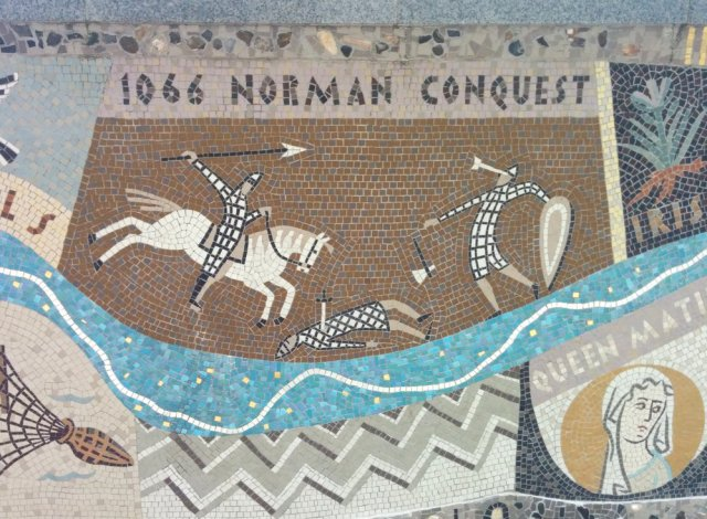 Detail of Queenhithe mosaic: 1066 and all that