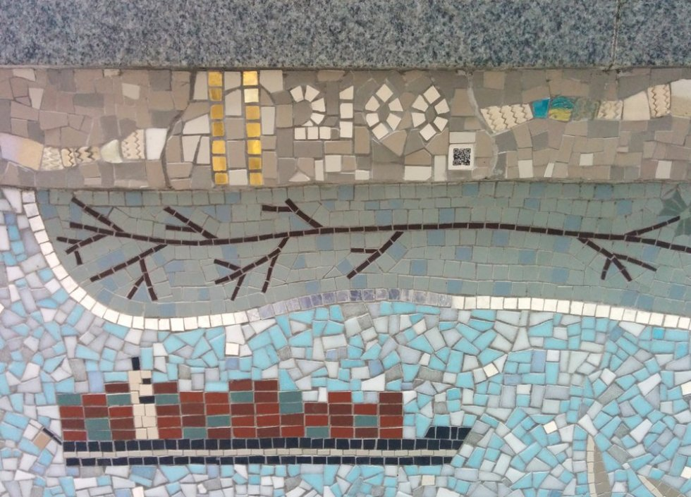 Detail of Queenhithe mosaic: Shipping containers and QR code