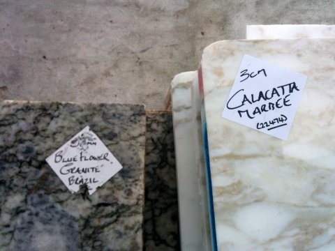Blue flower granite from Brazil; Calacatta marble from Italy