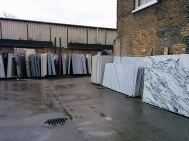 Slabs of stone in the showroom's yard