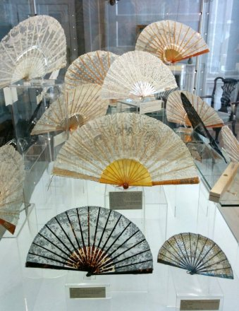 Lace fans on display as part of temporary exhibition, Treasures of the Fan Museum
