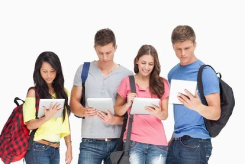 Group of students tablet pc's Ergonomics for Kids