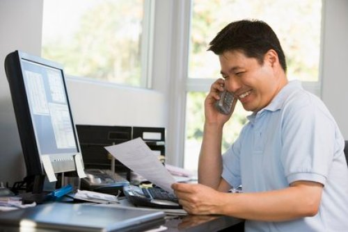 Man in home office working from home