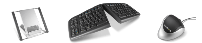ergonomic tablet stand, keyboard and mouse