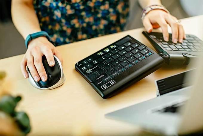using ergonomic keyboard and mouse