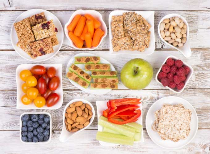 healthy foods including nuts and vegetables