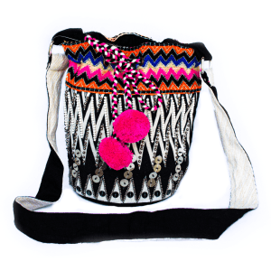 Black and Pink Pompom Body Bag