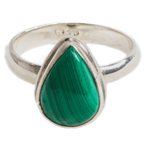 Malachite Silver Plated Ring